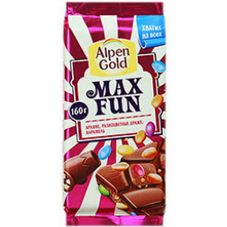 Шоколад ALPEN GOLD Max Fun Арахис, 160 гр.