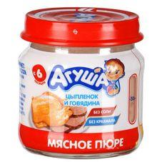 """Пюре мясное """"Агуша"""" Цыпленок-говядина 7,7% 80 г, 8 ст.банок/уп."""