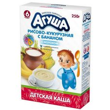 "Каша сухая молочная ""Агуша"" Рисово-кукурузная с бананом 250 г, 10 кор./уп."