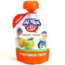 """Пюре фруктовое """"Агуша Я Сам"""" Яблоко-персик 10 шт./уп."""
