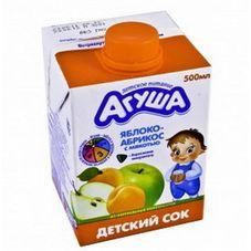 """Сок с мякотью """"Агуша"""" Яблоко-абрикос 0,5 л, 15 шт./уп."""
