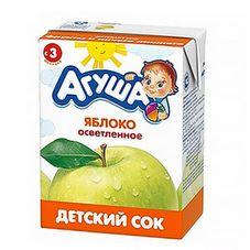 """Сок детский осветленный """"Агуша"""" Яблоко без сахара 0,2 л, 27 шт./уп."""