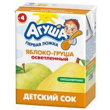 """Сок детский осветленный """"Агуша"""" Яблоко-груша 0,2 л, 27 шт./уп."""
