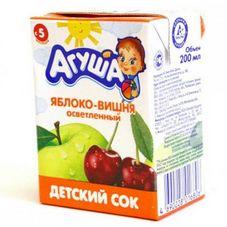 """Сок детский  """"Агуша"""" Яблоко-вишня 0,2 л, 27 шт./уп."""