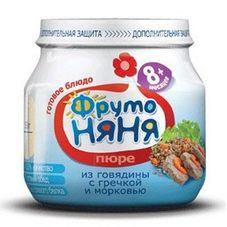 """Пюре """"Фрутоняня"""" Говядина с гречкой и морковью 100 г, 12 б./уп."""