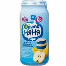 "Пюре ""Фрутоняня"" Яблоко-Банан со сливками 250 г, 12 б./уп."