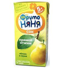 """Сок """"Фрутоняня"""" Яблоко-груша прямой отжим 0,2 л, 27 шт./уп."""