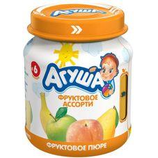 """Пюре фруктовое """"Агуша"""" Ассорти 115 г, 12 ст.банок/уп."""
