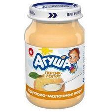 """Пюре фруктовое """"Агуша"""" Персик с йогуртом 200 г, 8 ст.банок/уп."""