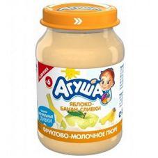 """Пюре фруктовое """"Агуша"""" Яблоко-банан со сливками 200 г, 8 ст.банок/уп."""