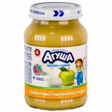 """Пюре фруктовое """"Агуша"""" Яблоко со сливками 200 г, 8 ст.банок/уп."""