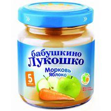 """Пюре Морковь-яблоко """"Бабушкино лукошко"""" 100 г, 6 б./уп."""