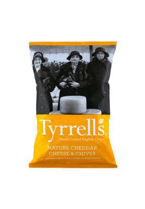 Чипсы TYRRELS с сыром Чеддер и луком-резанцом, 150 г