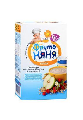"""Каша молочная """"Фрутоняня"""" Пшеничная с яблоком и земляникой 200 г, 9 шт./уп."""